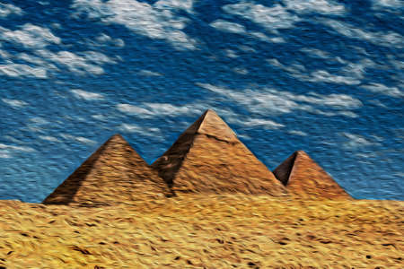 Desert landscape with the Giza pyramids, an old necropolis for pharaohs. Located southwest of Cairo, this ancient Egyptian wonder is one of the world biggest tourist attractions. Oil paint filter. 写真素材