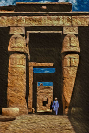 Egyptian man standing on ruins from an old temple covered by hieroglyphics in the Karnak Temple near Luxor. An open-air museum with many ruins of temples and tombs in central Egypt. Oil paint filter.