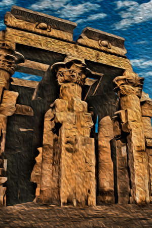 Columns covered with hieroglyphics made by the ancient Egyptians in the Kom Ombo temple near Aswan. A village of huge archaeological value next to the Nile River in southern Egypt. Oil paint filter.