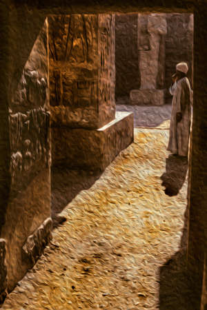 Egyptian man standing on ruins from an old temple covered by hieroglyphics in the Karnak complex near Luxor. An open-air museum with many ruins of temples and tombs in central Egypt. Oil paint filter. 写真素材