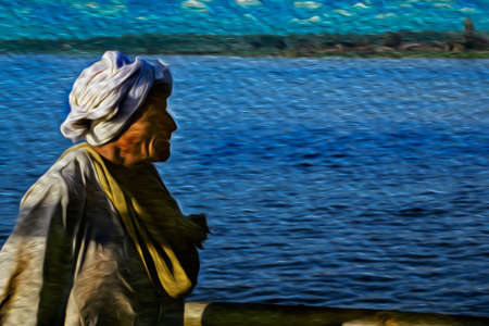 Luxor, Egypt - February 21, 1997. Egyptian old man in typical clothes with the Nile River in the background. The longest watercourse on earth that crosses Egypt from south to north. Oil paint filter.
