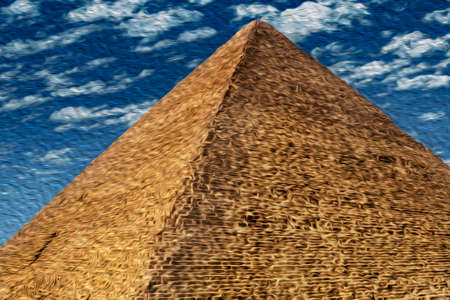 Close-up of pyramid from Giza complex, an old necropolis for pharaohs. Located southwest of Cairo, this ancient Egyptian wonder is one of the world biggest tourist attractions. Oil paint filter.