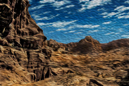Eroded rocky cliffs with carved temple in the ancient archeological site of Petra. An amazing historic city with buildings carved out of the cliffs in southern Jordan. Oil paint filter. 写真素材