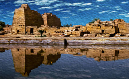 Ruins of temple made by the ancient Egyptians reflected in a pool at the Karnak Temple, near Luxor. An open-air museum with many ruins of temples and tombs in central Egypt. Oil paint filter.