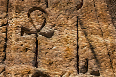 Hieroglyphic symbols carved on rock by the ancient Egyptians in the Abu Simbel Temple. An amazing archaeological complex on the lake shore of Aswan dam in southern Egypt. Oil paint filter.