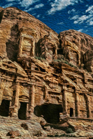 Facade of an eroded temple carved out from the rock in the ancient archeological site of Petra. An amazing historic city with buildings carved out of the cliffs in southern Jordan. Oil paint filter. 写真素材