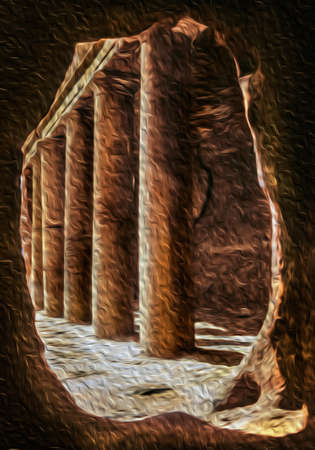 Hole in the rock framing a colonnade in the ancient archeological site of Petra. An incredible historic city with buildings carved out of the cliffs in southern Jordan. Oil paint filter 写真素材