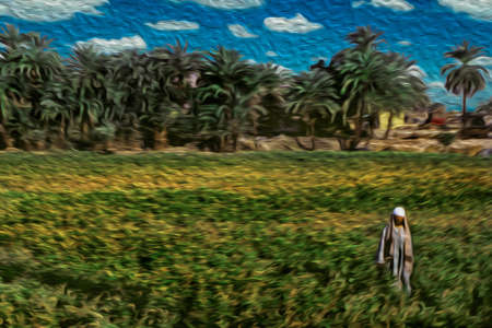 Egyptian man standing on a field with green plantation and palm trees in the background, near Luxor. An open-air museum with many ruins of temples and tombs in central Egypt. Oil paint filter.