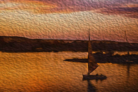 Cloudy sky at sundown and traditional sailing boats called felucca sailing the Nile River. The longest watercourse on earth that crosses Egypt from south to north. Oil paint filter.