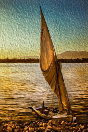 Traditional sailing boat called felucca at sunset moored on Nile River margin. The longest watercourse on earth that crosses Egypt from south to north. Oil paint filter.