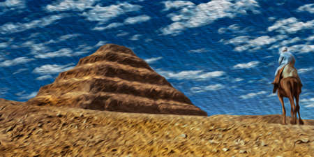 Egyptian riding dromedary beside the Djoser Pyramid, the oldest stone building complex known in history. Located in Saqqara, an archaeological site on the desert, southwest of Egypt. Oil paint filter. 写真素材