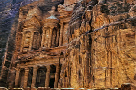 Facade of Al-Khazneh temple carved out from the rock in the ancient archeological site of Petra. An amazing historic city with buildings carved out of the cliffs in southern Jordan. Oil paint filter. 写真素材