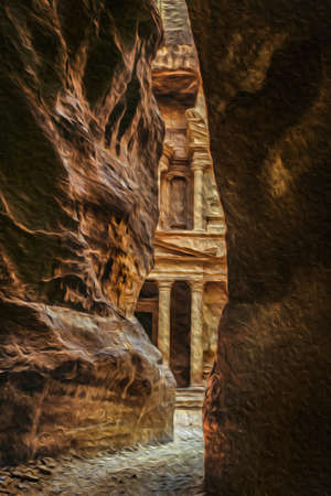 The first glimpse of Al-Khazneh temple upon exiting the gorge that lead to the archeological site of Petra. A historic city with buildings carved out of the cliffs in southern Jordan. Oil paint filter