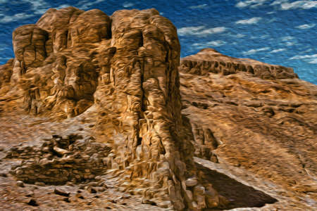 Arid rocky crag on the Valley of the Kings at the Thebes Necropolis, near Luxor. An open-air museum with many ruins of temples and tombs in central Egypt. Oil paint filter. 写真素材