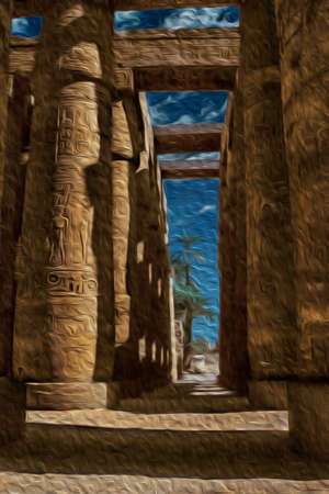 Columns covered by hieroglyphics made by the ancient Egyptians in the Karnak Temple near Luxor. An open-air museum with many ruins of temples and tombs in central Egypt. Oil paint filter.