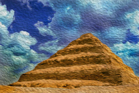 View of the step Djoser Pyramid, the oldest stone building complex known in history. Located in Saqqara, an archaeological site on the desert, southwest of Cairo in Egypt. Oil paint filter. 写真素材
