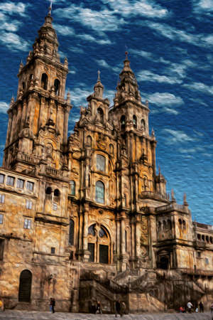Astonishing facade of the Santiago de Compostela Cathedral, that represent the finish line of the Way of St. James, a famous pilgrimage route going trough northern Spain. Oil paint filter.