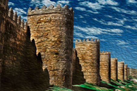 Several towers on the large city wall made of stone in Romanesque style, in a sunny day at Avila. It has an imposing wall completely encircling this well-kept gothic town in Spain. Oil paint filter.
