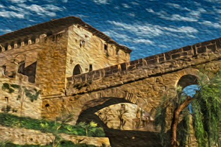 Gothic stone bridge and old building at sunset in Puente La Reina. A medieval village on the Way of St. James, a famous pilgrimage route leading to Santiago de Compostela in Spain. Oil paint filter. 写真素材