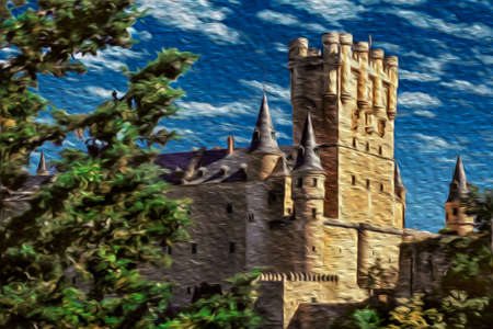 Alcazar of Segovia facade with large tower and conical roofs in a sunny day at Segovia. An ancient city full of medieval structures in central Spain. Oil paint filter.