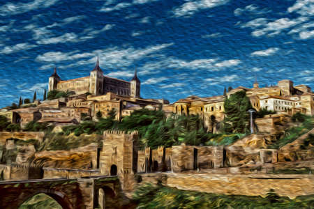 View of gothic bridge and hill covered by old buildings in the historic center of Toledo. A medieval city famous for the production of exceptional bladed weapons, in central Spain. Oil paint filter.