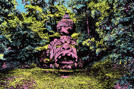 Sculpture of monster amid the vegetation in the lush park of Bomarzo. In the countryside of central Italy. Blacklight Poster filter.
