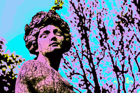 Female face sculpt in marble in a gloomy day near Como. A pleasant town a few miles from Milan in northern Italy. Blacklight Poster filter.