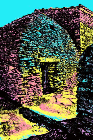 Typical hut made of stone in the Village of Bories, near Gordes. A cute historical village in southeastern France. Blacklight Poster filter.