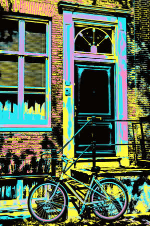 Bicycle in front of brick building entrance in Amsterdam. The Dutch capital, famous for its cultural life and canals. Blacklight Poster filter.