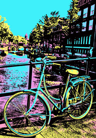 Bicycle stuck in a bridge balustrade over canal of Amsterdam. The Dutch capital, famous for its cultural life and canals. Blacklight Poster filter.
