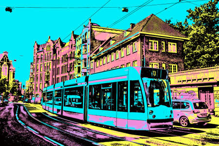Amsterdam, Netherlands, June 26, 2017. Street with tram passing by in Amsterdam. Famous for its cultural life and canals. Blacklight Poster filter. Stock fotó