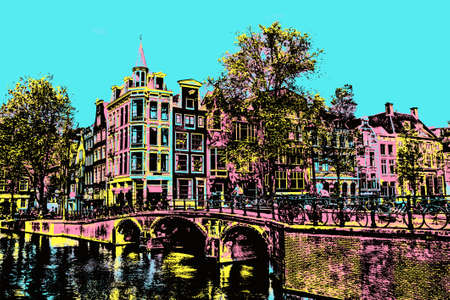 Bridge over canal with buildings and cyclists in Amsterdam. The Dutch capital, famous for its cultural life and canals. Blacklight Poster filter.