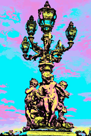 Detail of lavishly decorated lamp post on the Alexandre III bridge in Paris. The French capital known as the City of Light. Blacklight Poster filter.