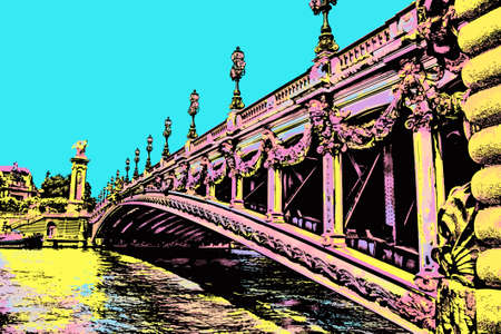 Span of Alexandre III bridge over the Seine River in Paris. The French capital known as the City of Light. Blacklight Poster filter.
