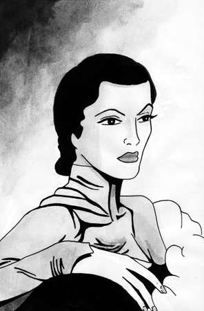 Art of fancy woman in formal dress from the twenties, in film noir atmosphere and art Deco style. Ink drawing. Фото со стока