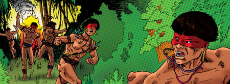Illustration of Brazilian indigenous running terrified of fire through the forest, in comics style. Hand drawn and digital colorization.