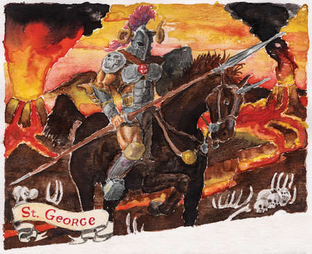 Drawing of armed and armored knight, riding a horse on volcanic landscape, with a tag where is written St. George. Watercolor painting. Фото со стока