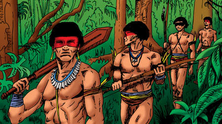 Illustration of Brazilian indigenous men walking through the rainforest, in comics style. Hand drawn and digital colorization.
