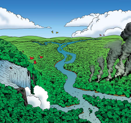 Illustration of a huge rainforest landscape with large waterfall and smoke columns, in comics style. Hand drawn and digital colorization.
