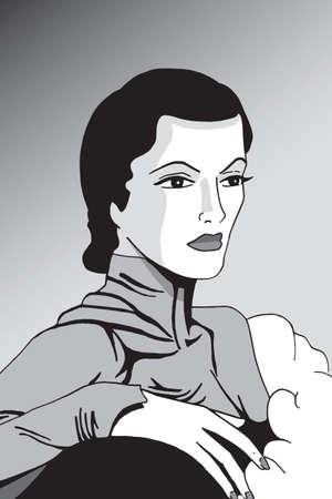 Art of fancy woman in formal dress from the twenties, in film noir atmosphere and art Deco style. Digital drawing. 版權商用圖片 - 159463810