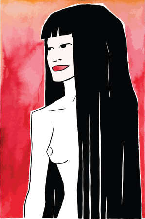 Illustration of a sexy woman with long black hair and reddish background, in comics style. Hand drawn and digital retouch. Archivio Fotografico