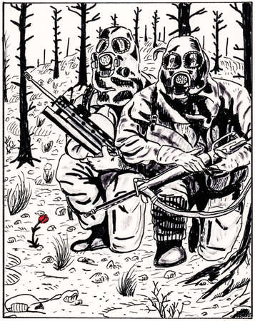 Illustration of small colored flower next to armed soldiers wearing jumpsuit for protection from radiation and chemical agents, in comics style. Ink drawing. Фото со стока