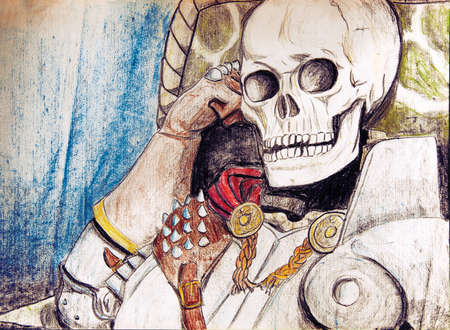 Portrayal of the skeleton of a knight in armor seated with with the skull resting on the wrist, in comics style. Colored pencils drawing.