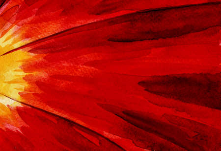 Detail of red flower petals making a quaint background. Watercolor painting. Archivio Fotografico