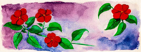 Portrayal of red flowers on bushes with greenish leaves. Watercolor painting.