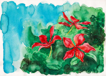 Portrayal of red flowers over greenish bushes. Watercolor painting. Archivio Fotografico