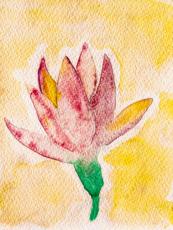 Portrayal of a colorful tulip flower in yellow background. Watercolor painting. Archivio Fotografico