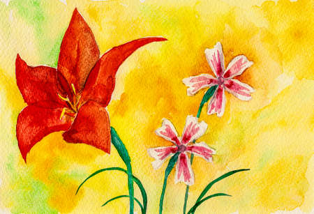 Portrayal of a big red flower and colorful small flowers in yellow background. Watercolor painting.