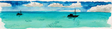 Landscape of small fishing boats on turquoise sea in a sunny day. At the tropical beach of Itaunas in the Brazilian northeast. Watercolor painting. Archivio Fotografico