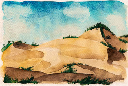 Landscape of beautiful sand dunes with undergrowth and sunny day. At the tropical beach of Itaunas in the Brazilian northeast. Watercolor painting.